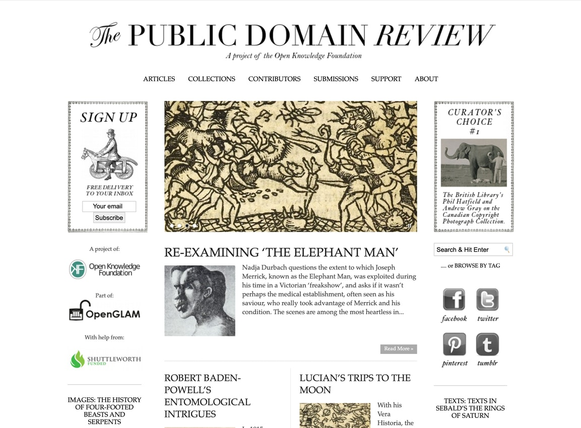 public domain review homepage in 2013