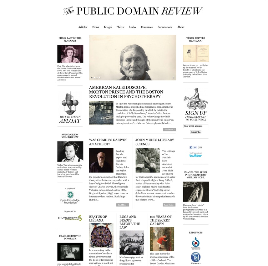 public domain review homepage in 2011