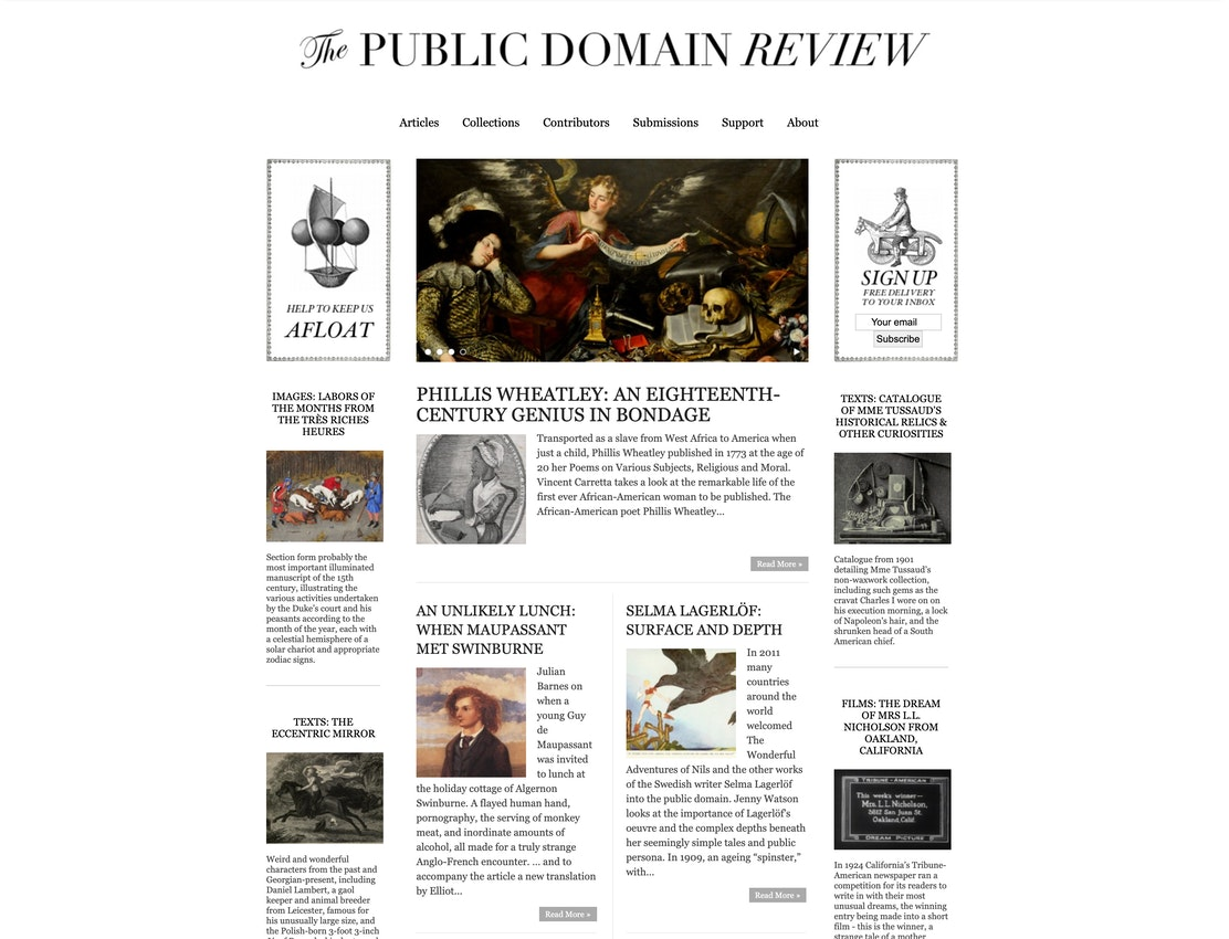 public domain review homepage in 2012
