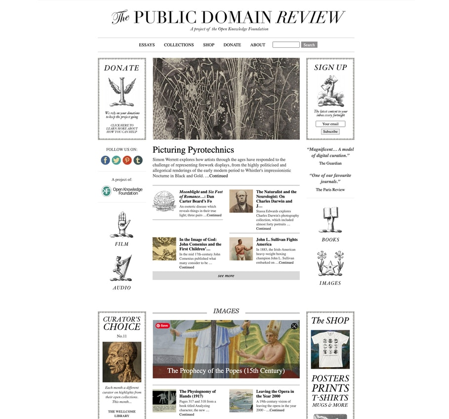 public domain review homepage in 2014