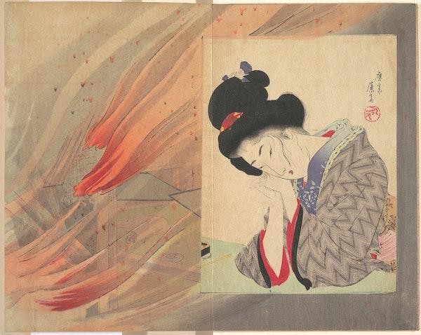 japan fire woman