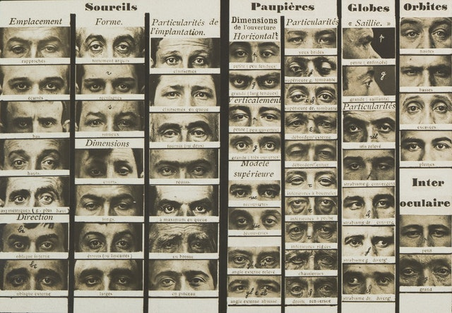 Alphonse Bertillon's Synoptic Table of Physiognomic Traits (ca. 1909)