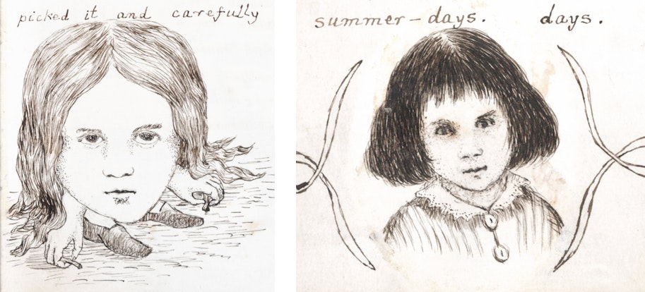 comparison of lewis carroll drawing in book and portrait of Alice at the end