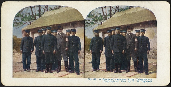 A group of Japanese army telegraphers