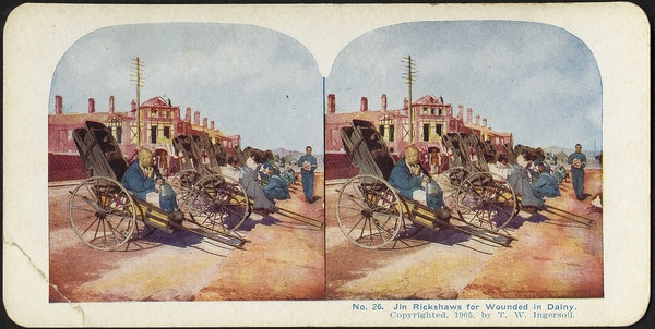 Comfortable jin rickshaws for the wounded in Dalny