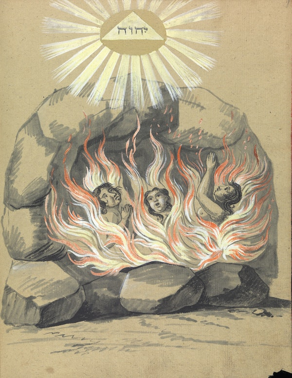 L0076358 Three people engulfed in flames, MS. 1766