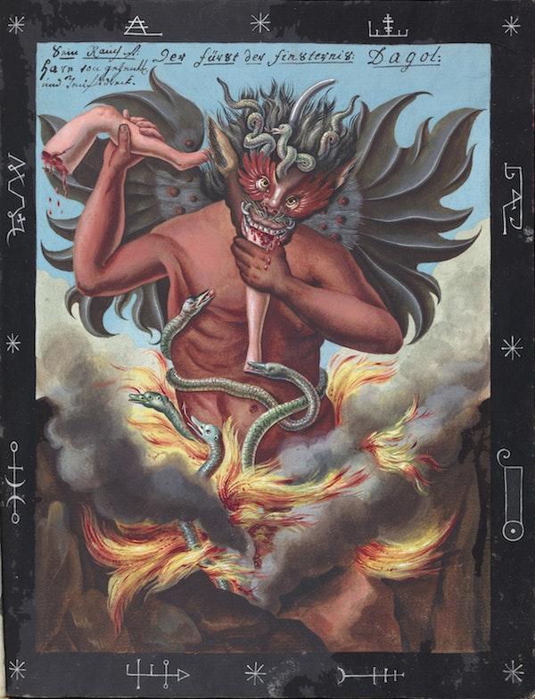 L0076366 The Prince of Darkness, Dagol devouring human limbs