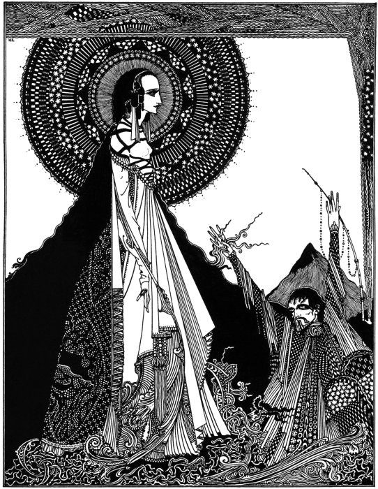 Harry Clarke, illustration for Ligeia, in: Tales of Mystery and Imagination, Edgar Allan Poe, 1919.