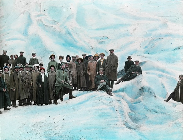 Tourists on glacier