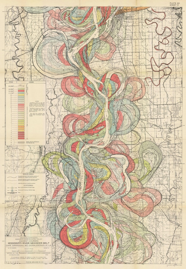 harold fisk mississippi river map