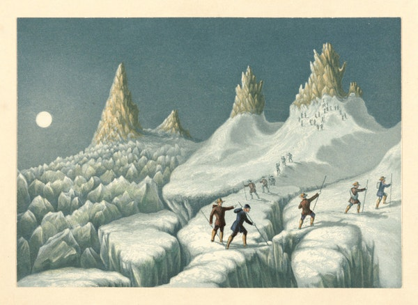 Illustration of the ascent of Mont Blanc