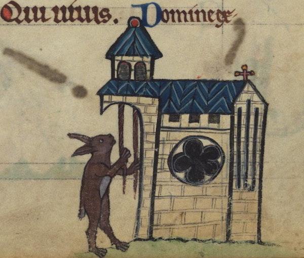 Rabbit tolling church bells, detail from fol. 81r.