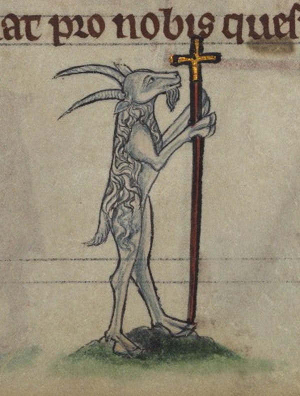 Goat carrying a crucifix, detail from fol. 79r.