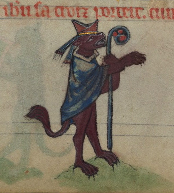Ysengrin the Wolf (arch enemy of Reynard) as a bishop, detail from fol. 78r.