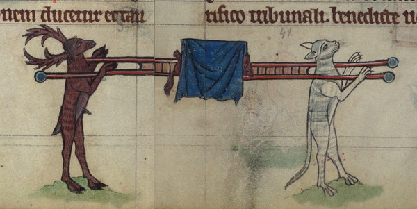 Brechimer the Stag and Tibert the Cat carrying Reynard the Fox's bier, detail from fol. 76v and fol. 77r.