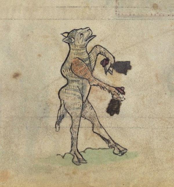 Sheep ringing bells, from fol. 73r.