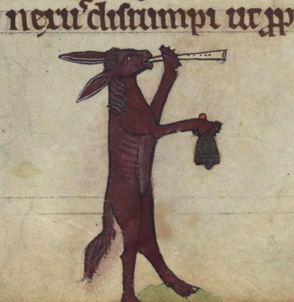 Ass playing a recorder and bell, detail from fol. 75r.