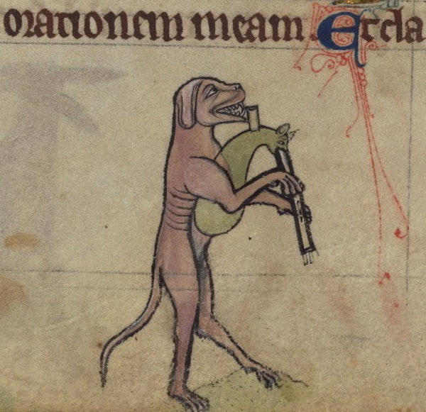 Dog playing bagpipes, detail from fol. 75v.