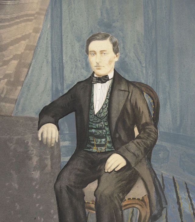 Painted Photograph of an Unknown Man (ca. 1855–70)
