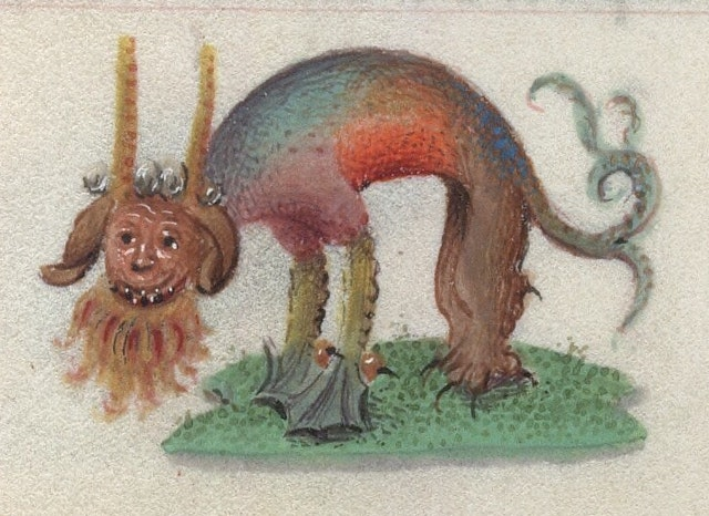 Rainbow-coloured Beasts from 15th-Century Book of Hours
