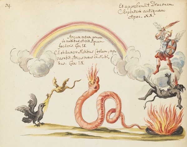 rainbow and a warrior standing on a cloud attacking three monsters