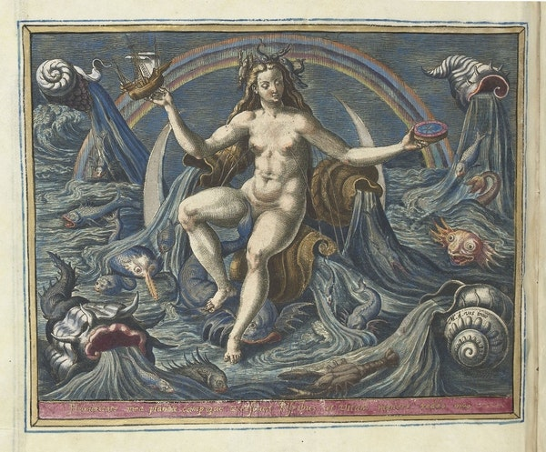 Allegory of water, personified by Venus, part of an album by Adriaen Collaert, after Maerten de Vos, ca. 1580