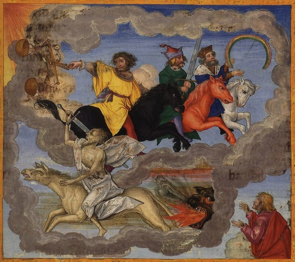 Miniature in the Ottheinrich Bible (ca. 1530), depicting The Four Horsemen of the Apocalypse, on of whom is brandishing a rainbow
