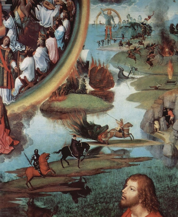 Detail from a Hans Memling painting depicting scenes from The Book of Revelation
