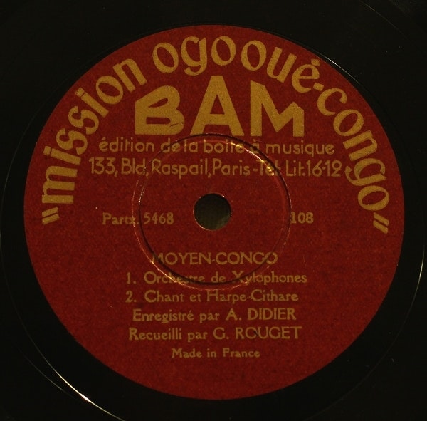 Center label from audio recording for Mission Ogooué-Congo