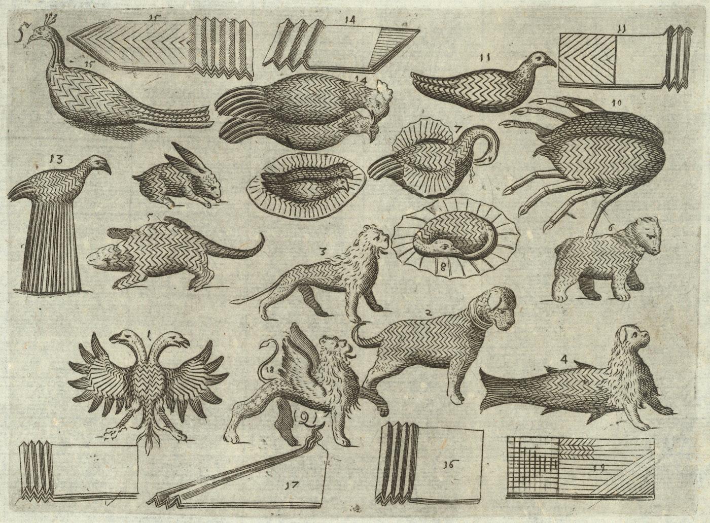 Serviette Sculptures Mattia Giegher S Treatise On Napkin Folding 1629 The Public Domain Review