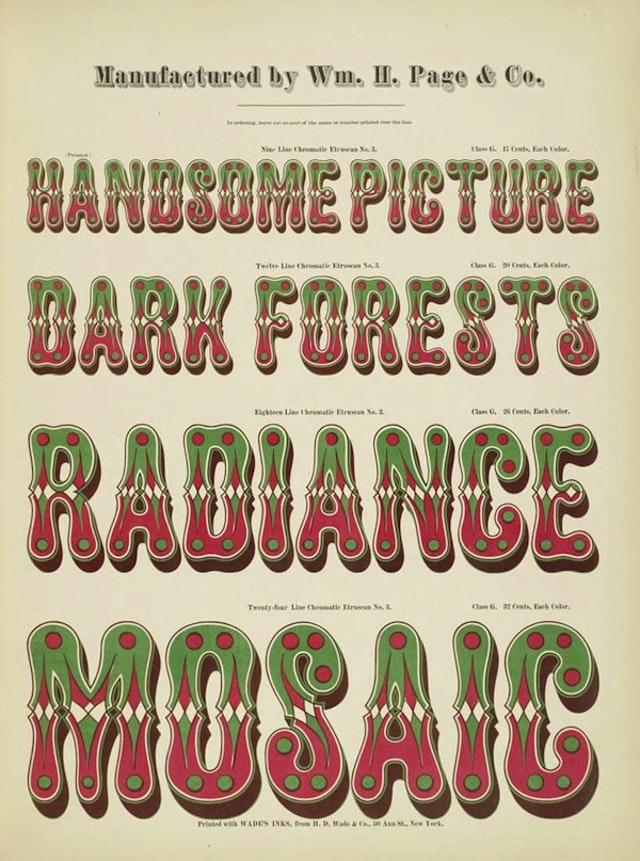 Specimens of Chromatic Wood Type and Borders (1874)