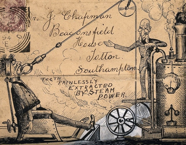 Steam-Powered Tooth Extraction on an Envelope (1894)