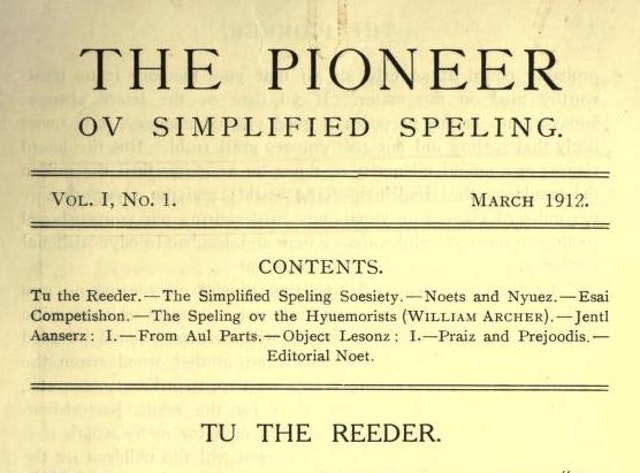 The Pioneer ov Simplified Speling, Vol. 1, No. 1 (1912)