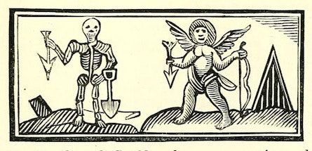 woodcut of an angel and a skeleton, both holding downward-pointing arrows