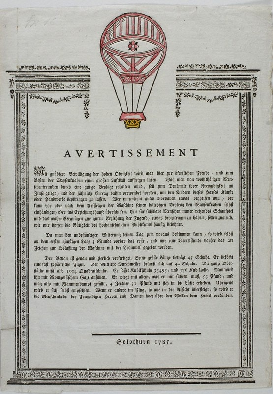 advertisement for balloon event, 18th century