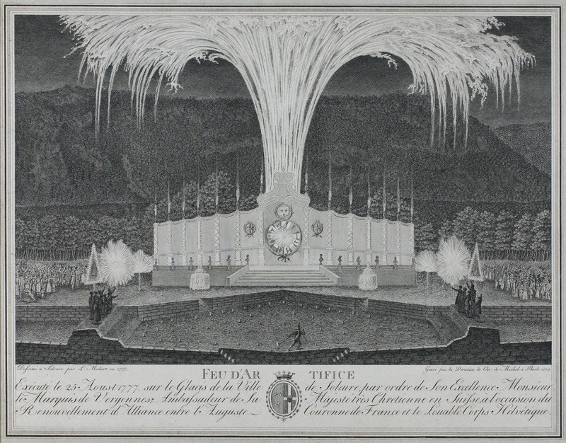 Fireworks display, etching, 18th century