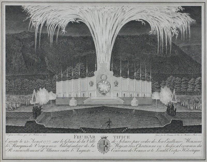 Fireworks display, etching, 18th century