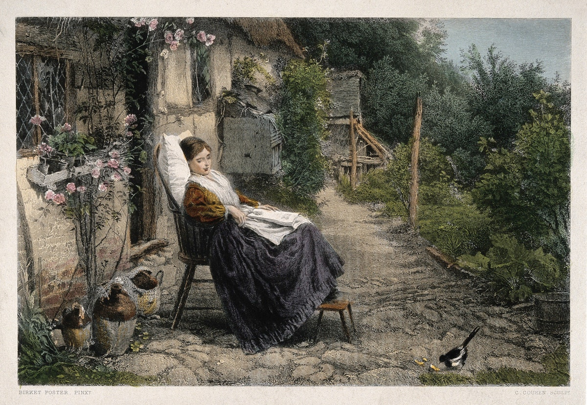 young woman convalescing