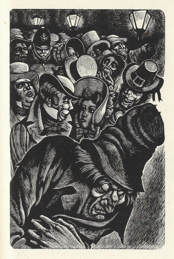 Fritz Eichenberg engraving of Poe's The Man of the Crowd