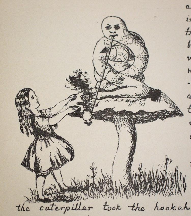 Lewis Carroll's illustration of caterpillar on mushroom