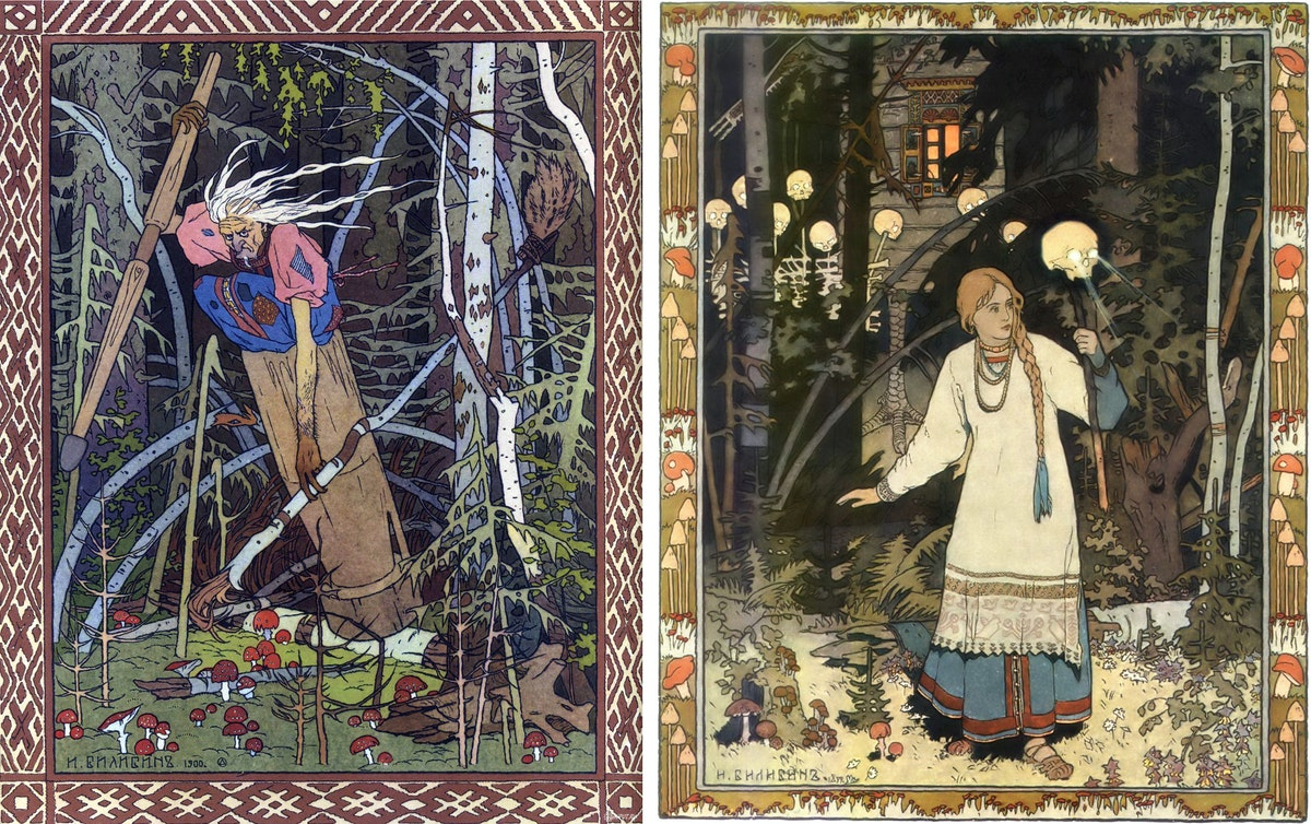 Illustrations by Ivan Bilibin of Vasilisa and Baba Yaga