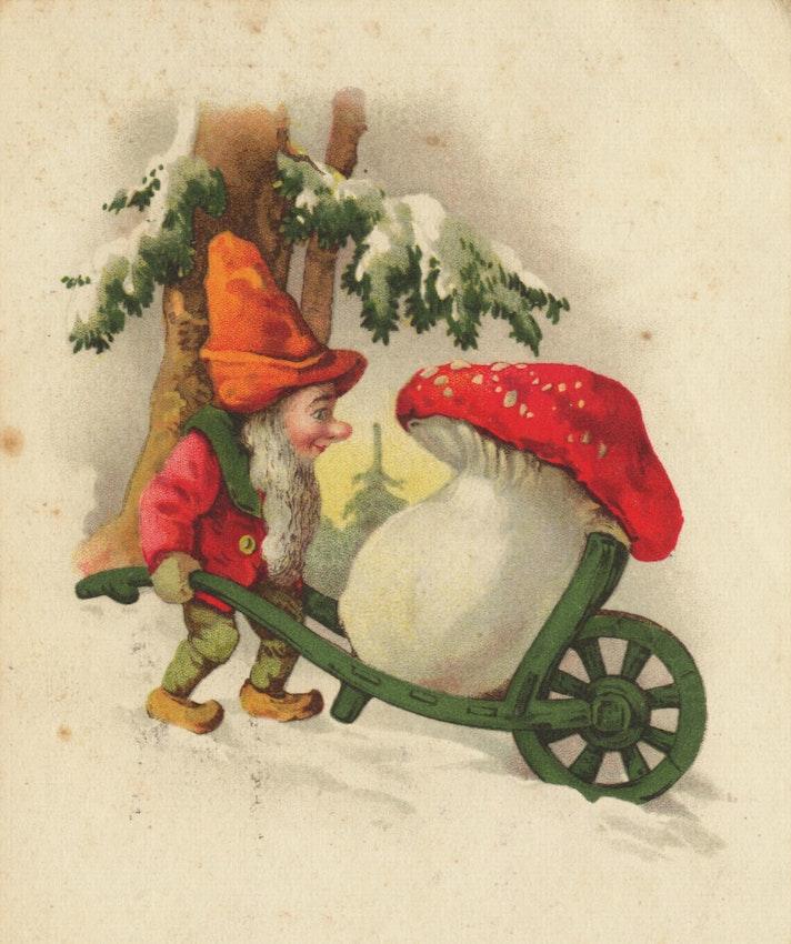 Gnome fly agaric mushroom