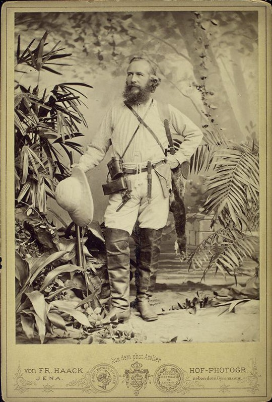 Studio portrait of Ernst Haeckel in his tropical explorer's gear