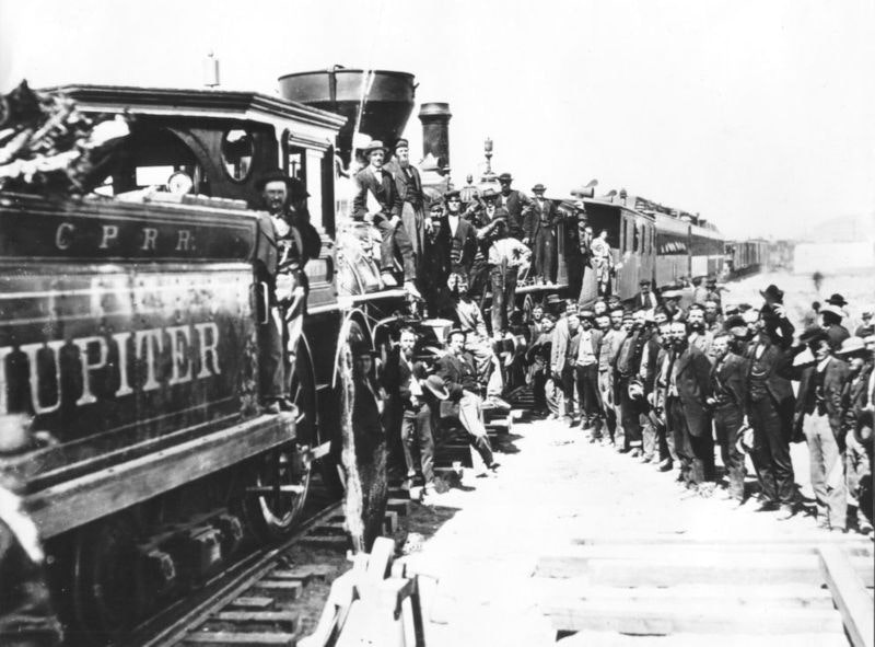 Celebration of completion of the First Transcontinental Railroad at what is now Golden Spike National Historic Site, Promontory Summit, Utah.