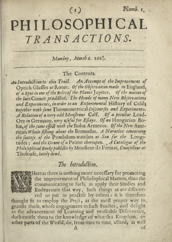 The first issue of the Philosophical Transactions