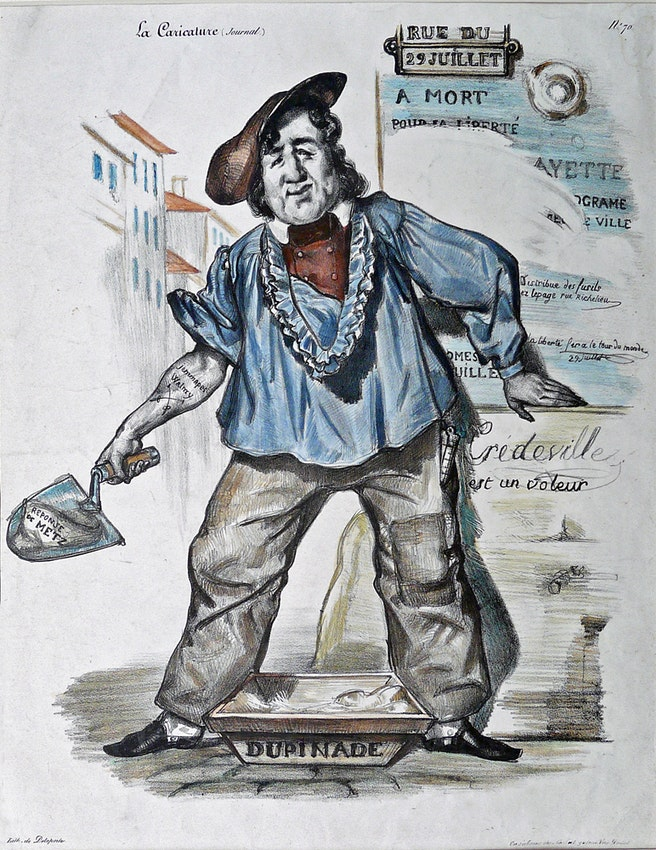 Drawing in La Caricature depicting censorship of the 1830 revolution
