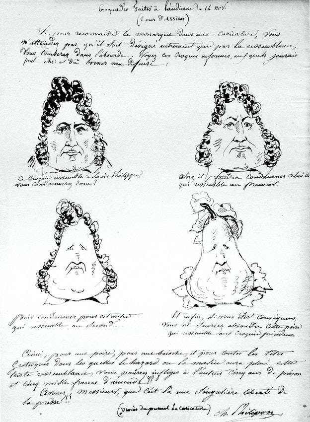 Philipon Pear Drawing Captioned in La Caricature