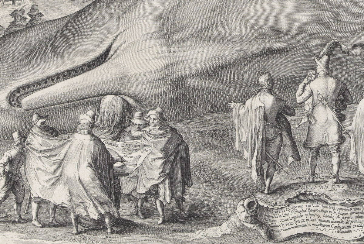 detail from Jan Saenredam print of a beached whale