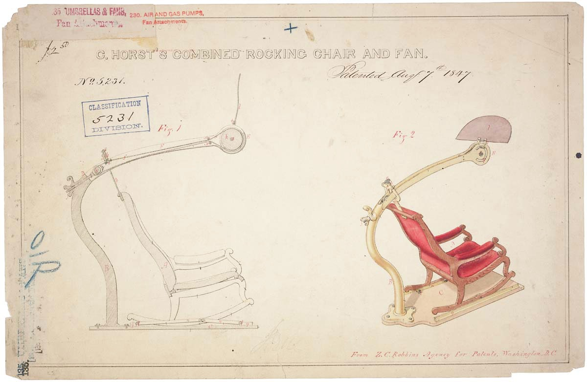 patent for a rocking chair with fan