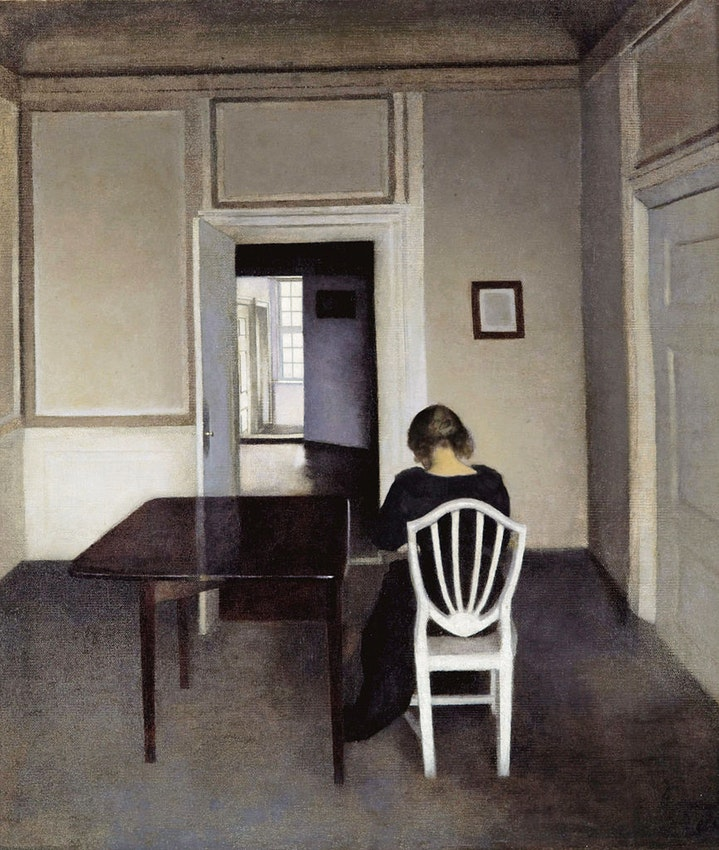 Vilhelm Hammershøi Interior with Ida in a White Chair